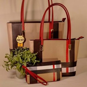BT2669 -Red Plaid  3-in-1 Tote